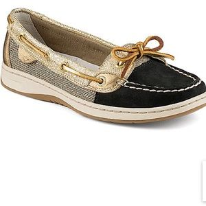 Sperry Women's Navy Gold Angelfish Boat Shoes Flat